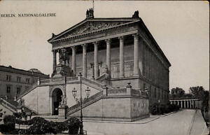 Berlin-Postkarte-1907-gelaufen-Strassenpartie-an-der-Nationalgalerie-alte-AK