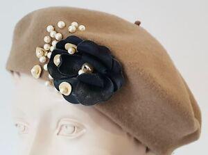In Accessori M Made Beige Nero Pearl Italy 100Lana Rada Beret FloralCream TJuF3K1lc