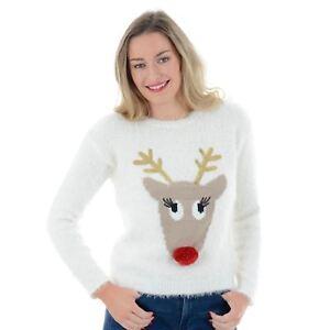 LADIES WOMENS CHRISTMAS NOVELTY TEAM RUDOLPH JUMPER SWEATSHIRT TOP