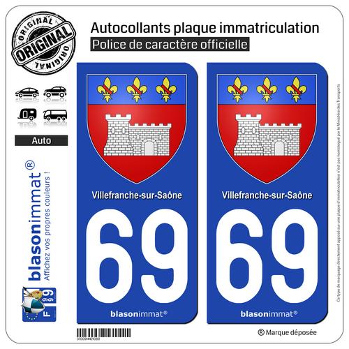 2 Autocollants Immatriculation Auto : 69 Villefranche-sur-saône - Armoiries