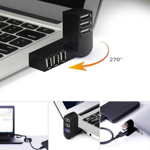 New Mini 3 Port USB 2.0 Rotating Splitter Adapter Hub For PC Laptop Notebook Mac