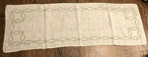 Vintage-Table-Runner-Dresser-Scarf-Linen-Hand-Embroidered-Lace-Trim-42-034-X14-034