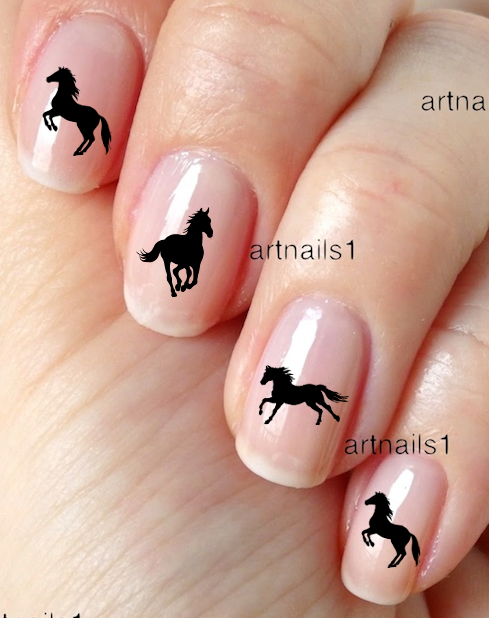 Black Horse Nail Art Silhouette Water Decals Sticker Manicure Salon Polish  Gift - Black Horse Nail Art Silhouette Water Decals Sticker Manicure Salon