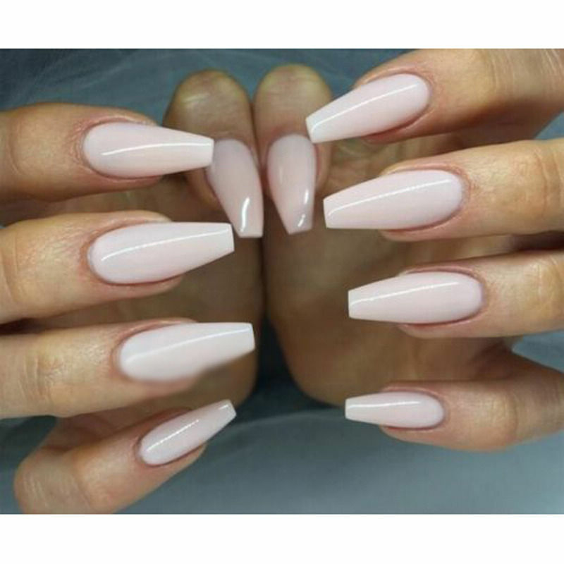 600pcs Long Ballerina Coffin Shape Full Cover False Fake Nails Diy Art Tips White 100pcs With Box Ebay