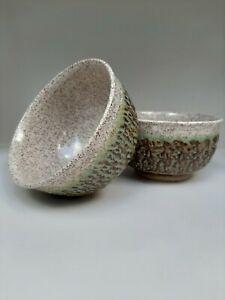 Handmade-Pottery-Set-of-Bowls-Signed