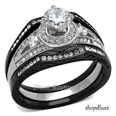 2.15 CT HALO ROUND CUT CZ BLACK STAINLESS STEEL WEDDING RING SET WOMEN'S SZ 5-10