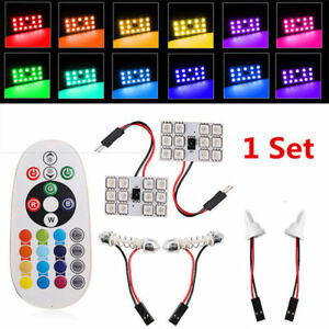 New-Remote-Control-2X-T10-5050-12-SMD-RGB-Car-Roof-Dome-Read-LED-Light-Lamp-Bulb