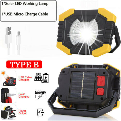 2pcs 100W Solar LED Light USB Rechargeable Camping Work Torch Flood Lamp Outdoor