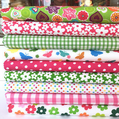 10 Fat Quarters Bundle CHILDREN GIRLS Polycotton Fabric STOCK CLEARANCE Remnants