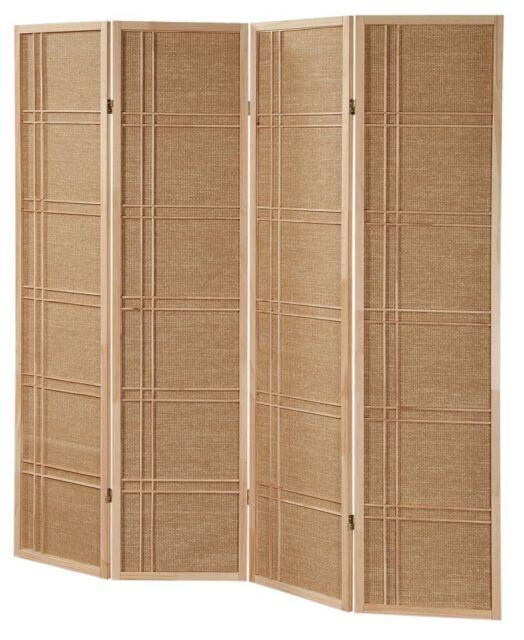 3 -4 Panel Rattan NOT Shoji Wooden Screen Room Dividers Natural Finish