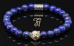 Lapislazuli-blau-goldfarbener-Tigerkopf-Armband-Bracelet-Perlenarmband-8mm