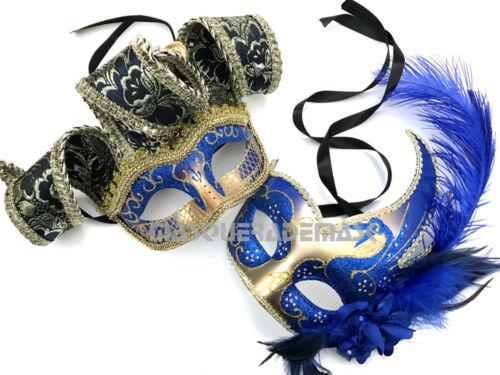 Couple Masquerade ball mask pair school prom dance Mardi Gras Jester Mask Pair
