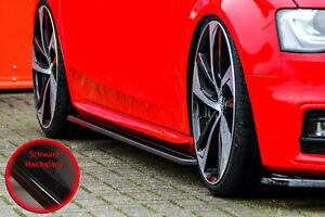 Seitenschweller-Sideskirts-ABS-fuer-Audi-A4-B8-S-Line-S4-Schwarz-Glanz-Facelift