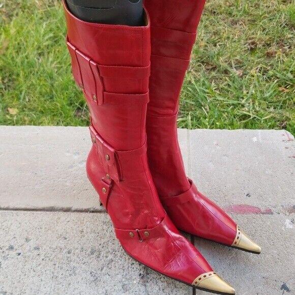 Miz Mooz Rojo Brillante de Cuero Pantorrilla botas botas botas Altas 39  barato y de alta calidad