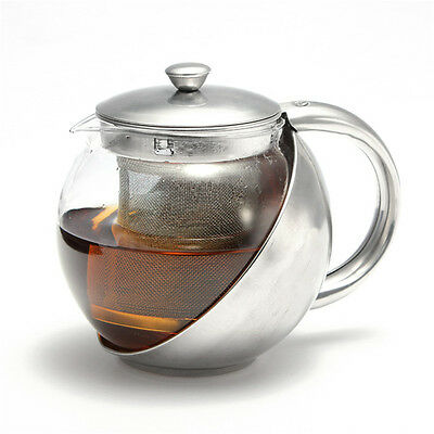 750ml Glass + Stainless Steel Teapot Kettle With Removable Infuser Filter