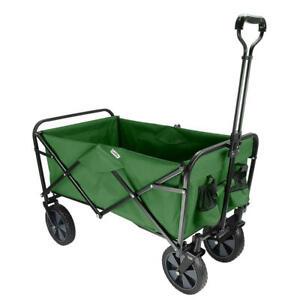 Folding Beach Outdoor Wagon, Collapsible Utility Garden Shopping Cart - Green
