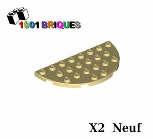 Lego 22888 x2 Plate Round Half 4 x 8 Tan