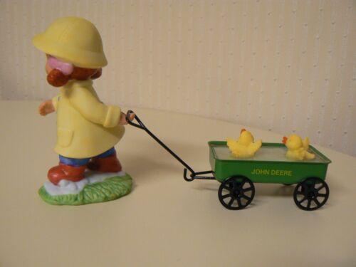 Enesco John Deere Friends Your Just Ducky Girl w// Wagon Pulling Ducks Figurine