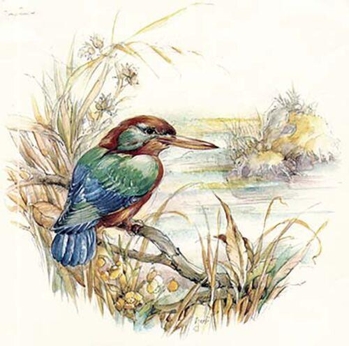 "Kingfisher Bird Tree Branch 1 pc 7/"" Waterslide Ceramic Decal Xx"