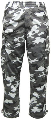 Mens Army Camouflage Cargo Combat Fleece Lined Thermal Trousers Camo Work Pants