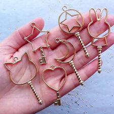 Key Open Bezel Pendant Magical Girl Wand Open Bezel Charm Kawaii UV Resin Crafts