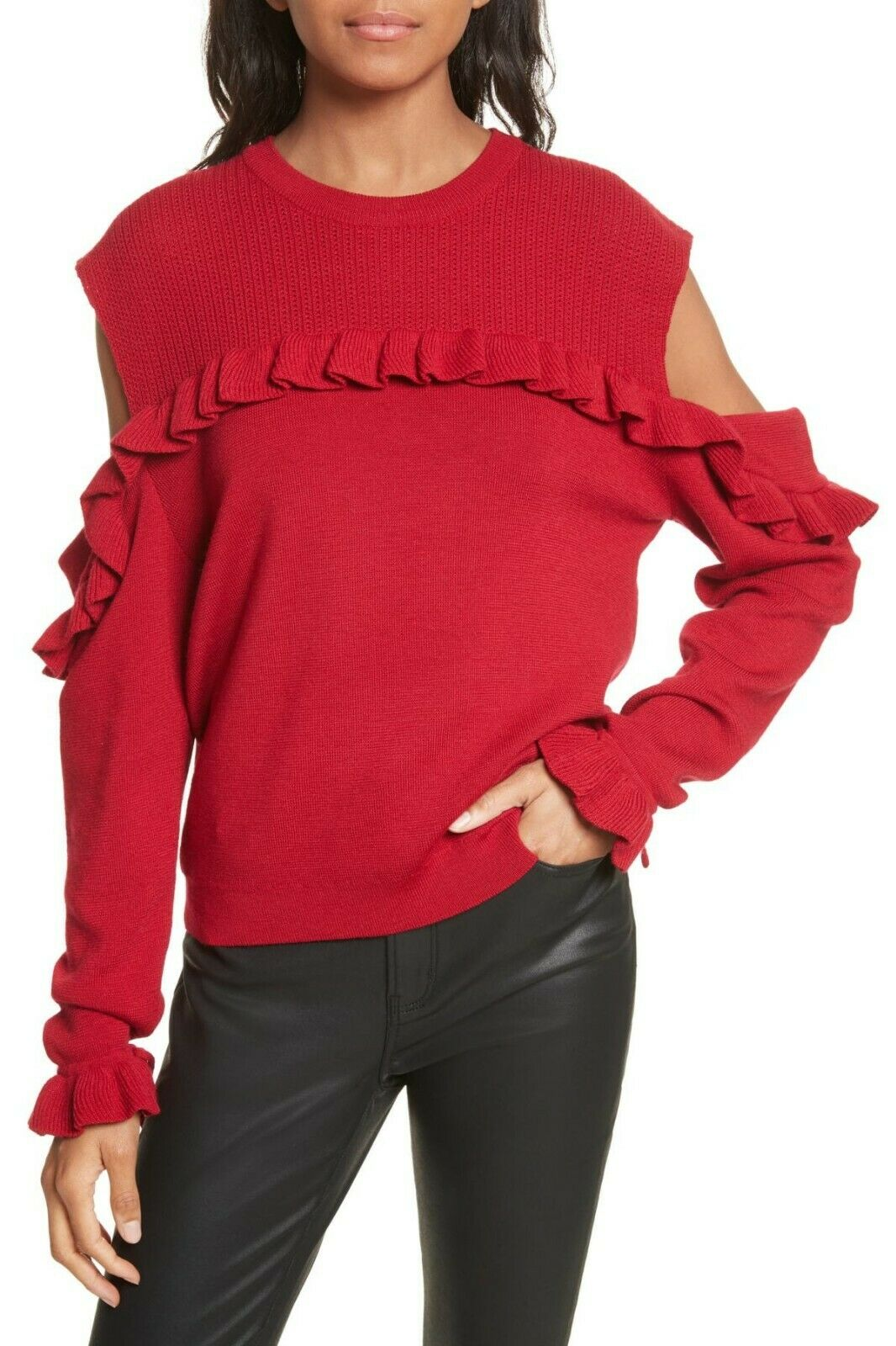 The kooples women BNWT red cold shoulder ruffle sweater sz Med NEW merino wool