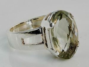 Sterling-Silber-ethno-asiatische-Vintage-Stil-Citrine-stone-Ring-Size-O-1-2-Geschenk