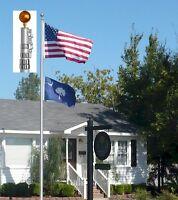 Usa 25 Ft Telescopic Aluminum Flagpole Free Flag Ball Pole Top Kit Fly 2 Flags on sale