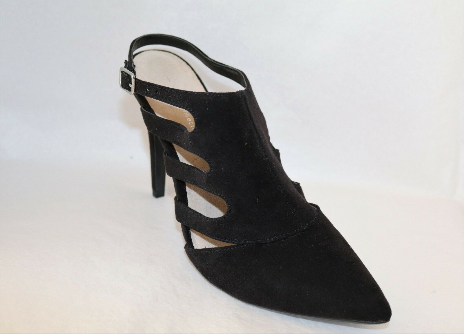 TARGET Brand Black Faux Suede Size Leather Sling Back Heels Size Suede 8 LIKE NEW b7ffe1