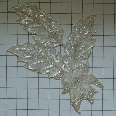 CRYSTAL IRIS FLOWER SPRAY SEQUIN BEADED APPLIQUE 1082-X