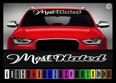 "40/"" Most Hated Car Decal Sticker Windshield Banner JDM Import Illest Script Race"