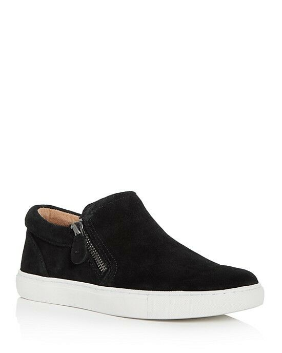 Gentle Souls Women's Lowe Suede Double Zip Sneakers Size 6.5 Black