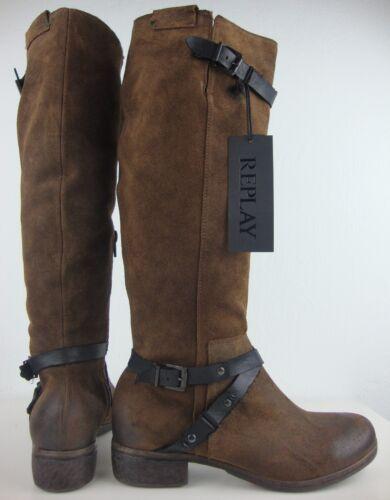 Stiefel Boots Damen Leder Etikett Hochschaftstiefel Neu Mit Braun Replay Gr 37 pwEtt