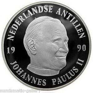 NETHERLANDS-ANTILLES-25-Gulden-1990-Silver-Proof-JOHN-PAUL-II-VISIT-in-Mint-Box