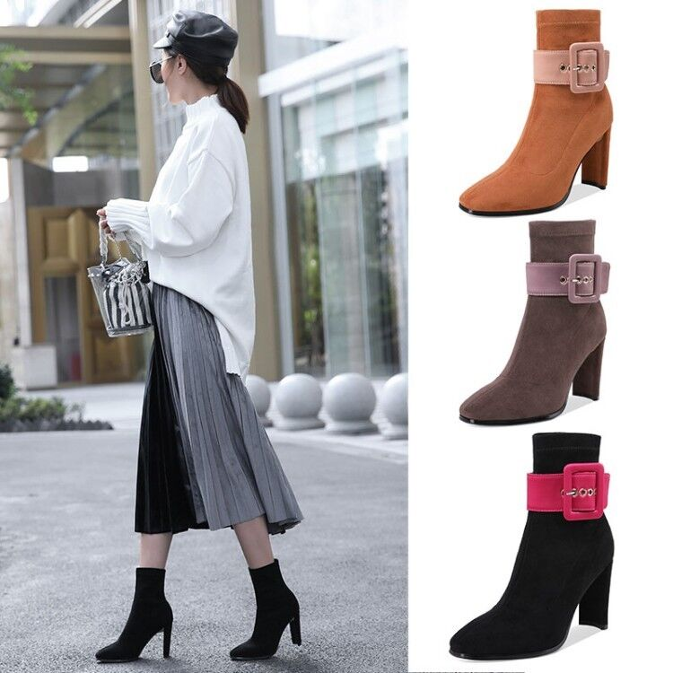 Femmes talons hauts Pull On Solid Square Toe Mid Calf bottes Buckle Suede bottesies Sz