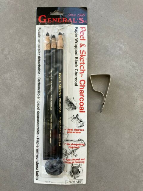 General's Peel and Sketch Charcoal 3 Pencils ART soft medium hard w/ paper clip