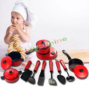 11pc Enfants de cuisine Ustensile de jouer à faire semblant Jouet Set Cuisinière