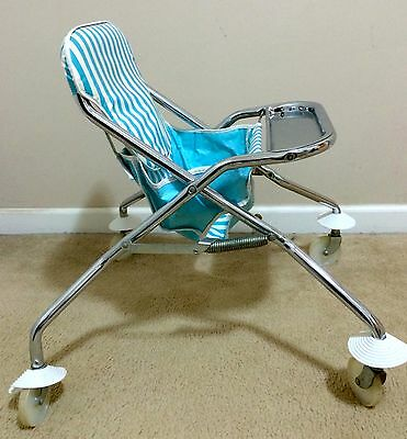 *RARE* 1950s Vintage Taylor Tot Rolling High Chair - Blue/White