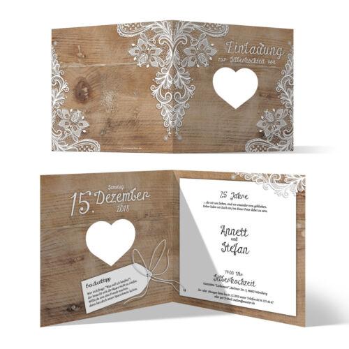 Rustikal weiß Spitze Lasergeschnittene Hochzeitseinladungen Silberhochzeit