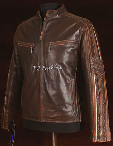 Uomo Fashion Nappa Brown Vintage Pelle Retro Russel Giubbotto Morbido 56Fnx8c