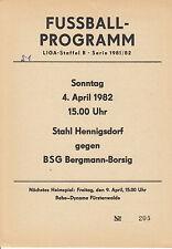 DDR-Liga 81/82 BSG Bergmann Borsig Berlin - BSG Stahl Hennigsdorf 04.04.1982