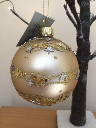 Gisela Graham Matt Gold Glass Christmas Bauble w 3–D Star /& Glitter Band 8cm