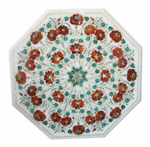 White Marble Coffee Center Table Top Carnelian Stone Floral Inlay Art Work Decor