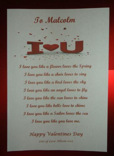 Saint Valentin Cadeau I Love You poème pour elle lui d/'impression A4 copain copine
