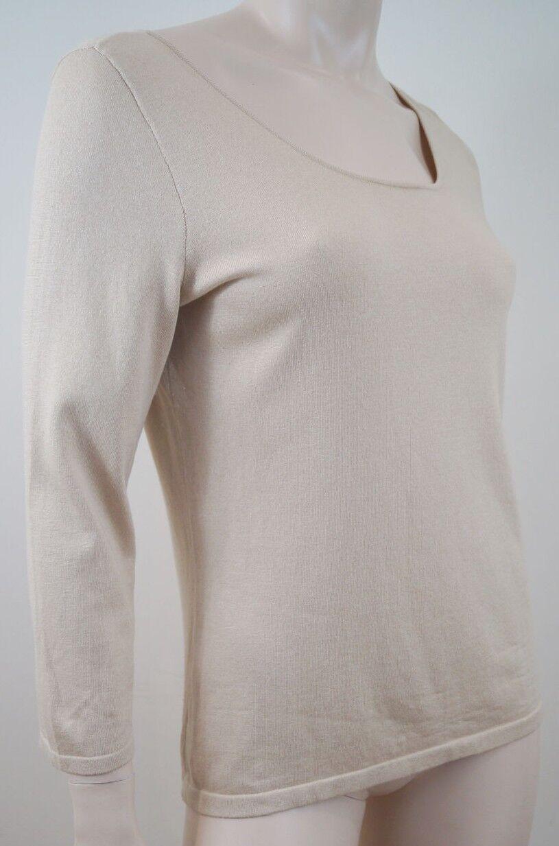 LAUREN RALPH LAUREN Cream Beige Silk Blend 3 4 Sleeve Jumper Sweater Top Sz M
