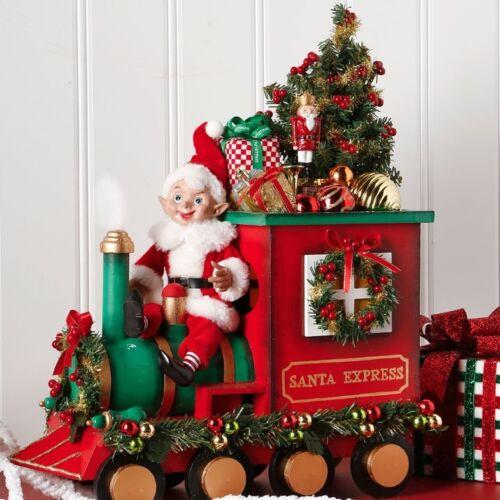 "3715525 RAZ 19/"" Santa Express Train w//Elf Pixie Conductor w//Christmas Tree Decor"