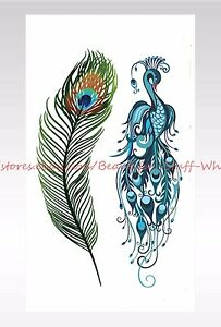 Us Seller Small Wrist Tattoos For Women Peacock Feather Temporary