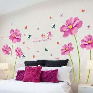 Adesivi Murali In Vinile.Dettagli Su Fiori Adesivi Murali Vinile Decal Arte Per Soggiorno Adesivo Murale Fiore Viola