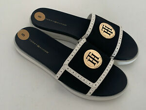 NEW-TOMMY-HILFIGER-SETHI-BLACK-WEDGE-SLIP-ON-SLIDES-FLIP-FLOP-SLIPPERS-8-38-SALE