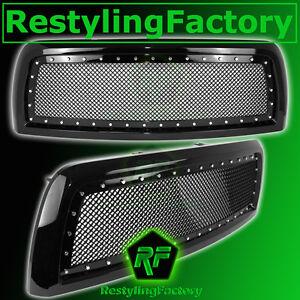 13-18-RAM-Trucks-2500-3500-HD-Front-Hood-Black-Mesh-Grille-Rivet-Studded-Shell